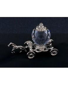 Carrozza cenerentola in fusione arg. e sfera in cristallo swarovski