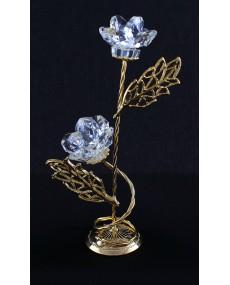 piantina a due rami in metallo elttrosaldato e fusione in bagno oro e fiori in cristallo swarovski