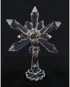 Croce puntali a stella in cristallo swarovski con cristo fusione arg.