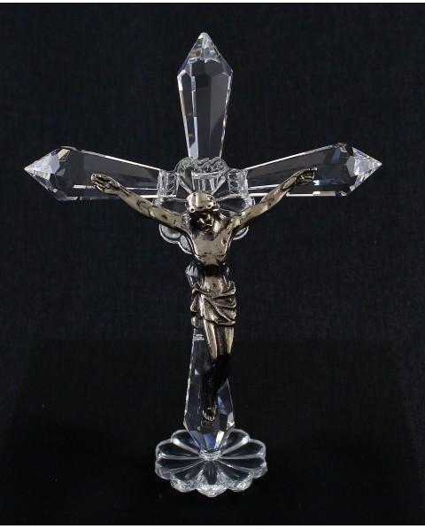Croce con puntai in cristallo swarovski e cristo arg.