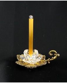 Portacandela ad 1 manico in fusione oro r, con candela in vetro murano e cristalli swarovski.