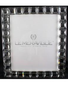 Portafoto a quadretti in cristallo sfaccettato grande, cm 20 x 25 (misura della foto).