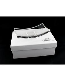 Piattino rettangolare gondola  p/cero in cristallo lux 12.5 x 6.5 con scatola