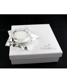 Tea light stella in cristallo lux 9.5 x 9.5 x 3 cm con scatola