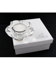 tea light margherita in cristallo lux 9 x 9 x 3.5 cm con scatola f/c