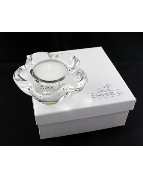 tea light margherita in cristallo lux 9 x 9 x 3.5 cm con scatola f/c