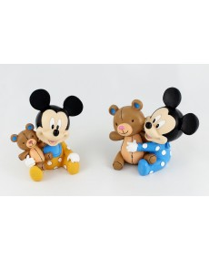 Walt Disney Baby mickey con orsetto in resina colorato  2 soggetti assortiti h8 x 8 x 5