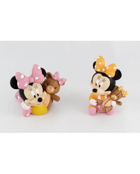 Walt Disney Baby Minnie con orsetto in resina colorato  2 soggetti assortiti h8 x 8 x 5  completo di astuccio
