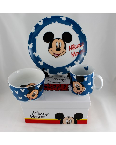Walt Disney Mickey set pappa 3 pz in porcellana con astuccio