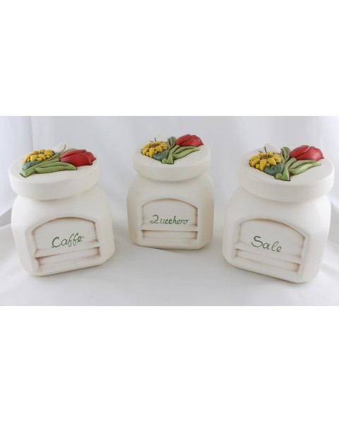 Tre barattoli alto inclinato ceramica nonnamara