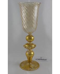 Calce da collezione in vetro soffiato con foglia oro 8 x 22