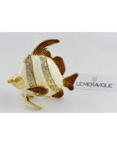 pesce metallo smaltato  madre perla strass