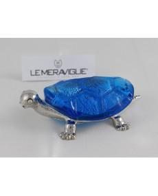 tartaruga con vetro murano e foglia argento 6x9