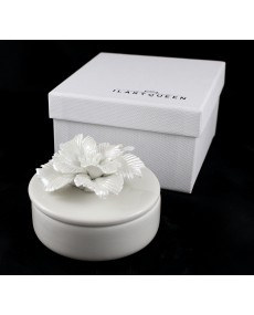 scatola tonda bianca con fiore 8x8x3 + astuccio