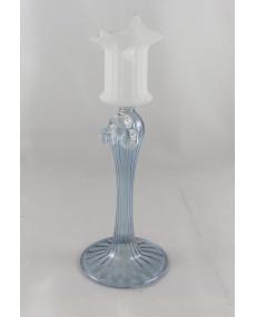 porta candela in vetro azzurro e bianco
