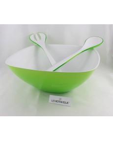 Set  insalatiera e posate bicolore verde acido e bianco