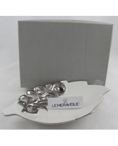 piattino foglia in porcellana bianca con decorazione argento