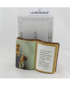 Icona libro 1° comunione boy in porcellana