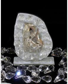 """Icona """"B"""" Maternità placca arg. con vetro murano bianco e cristalli swar. 7 X 9 cm con scatola"""