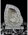 """Icona """"B"""" Bimba Comunione placca arg. con vetro murano Bianco e cristalli swar. 7 X 9 cm con scatola"""