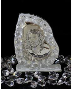 """Icona """"B"""" Cristo placca arg. con vetro murano Bianco e cristalli swar. 9 X 11 cm con scatola"""