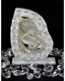 """Icona """"B"""" Bimbo comunione placca arg. con vetro murano Bianco e cristalli swar. 9 X 11 cm con scatola"""