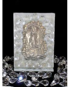Icona Madonna di Lourdes placca argento a muro, con vetro murano Bianco e cristalli swar. 6 X 11 cm con scatola