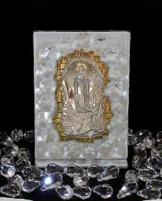 Icona Madonna di Lourdes placca argento e oro a muro, con vetro murano Bianco e cristalli swar. 6 X 11 cm con scatola