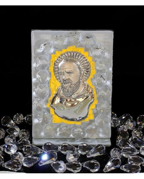 Icona Padre Pio placca argento e oro, a muro, con vetro murano Bianco e cristalli swar. 6 X 11 cm con scatola