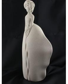 """Statua """"sogno"""" in porcellana grigia effetto pietra"""
