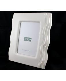 Cornice portafoto in porcellana bianca con effetto onda perlato