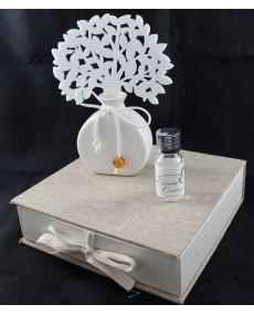 Diffusore artistico in porcellana bianca