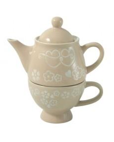 Teiera + tazza in porcellana colore tortora con decorazione fatta a mano tortora e avorio