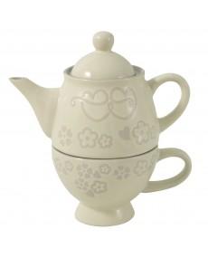 Teiera + tazza in porcellana colore avorio con decorazione fatta a mano tortora