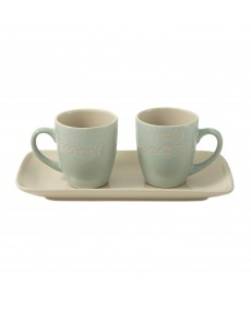 Set 2 tazzine + vassoio in porcellana colore verde con decorazione fatta a mano tortora e avorio