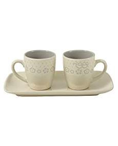 Set 2 tazzine + vassoio in porcellana colore avorio con decorazione fatta a mano tortora