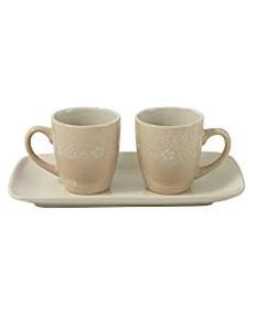 Set 2 tazzine + vassoio in porcellana colore tortora con decorazione fatta a mano avorio