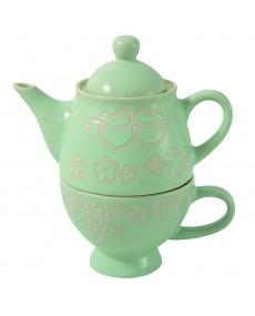 Teiera + tazza in porcellana colore verde con decorazione fatta a mano tortora e avorio