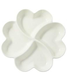 Vassoio 4 cuori  in porcellana smaltata bianca