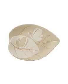 Foglia in ceramica dolomite con decorazione fatta a mano