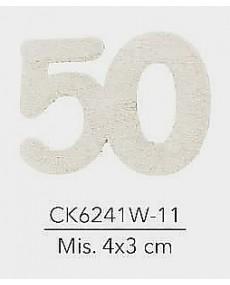 APPLICAZIONE IN LEGNO BIANCO NUMERO 50 MIS. 4X3 CM