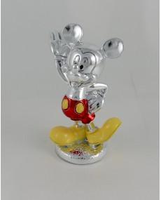 Walt Disney Mickey argento colorato smaltato, h 12 completo di astuccio
