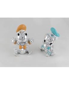 Walt Disney Baby Donald (paperino)  in argento colorato smaltato 2 soggetti assortiti h10 x 7 x 7  completo di astuccio
